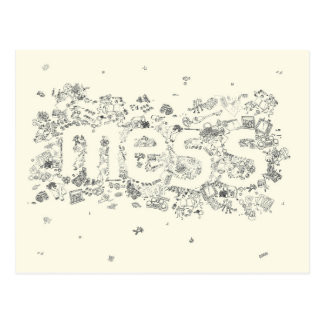 Funny Creative Family Mess Text Line Drawing Art Postcard