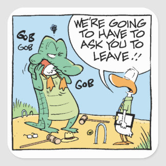 Funny Crocodile Comic Square Sticker