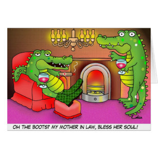 Funny crocodile Mother in Law greetings card