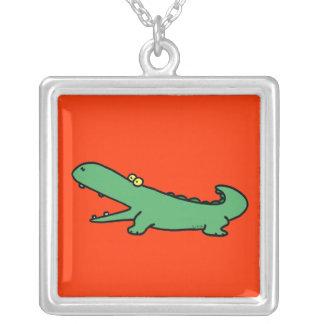 Funny crocodile square pendant necklace