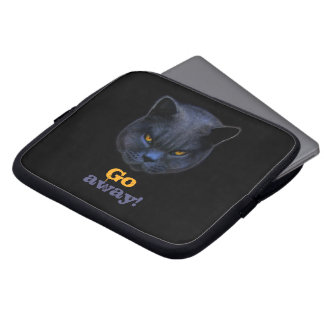 Funny Cross Cat says Go Away Laptop Sleeves