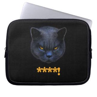 Funny Cross Cat says ****! Laptop Sleeve