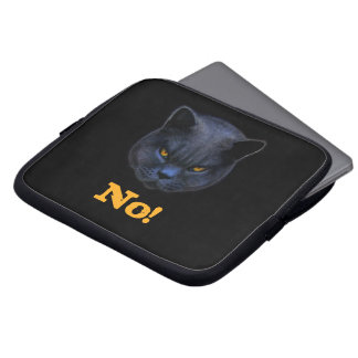 Funny Cross Cat says No Laptop Computer Sleeves