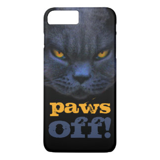 Funny Cross Cat says Paws Off! iPhone 7 Plus Case