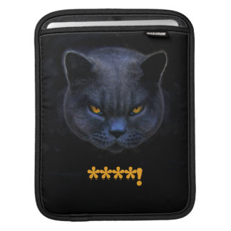 Funny Cross Cat says ****! Sleeves For iPads