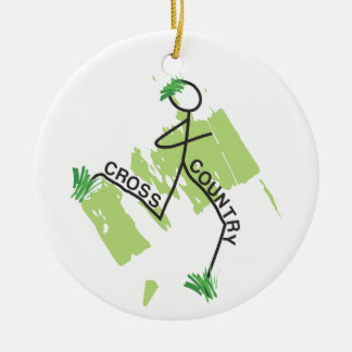 Funny Cross Country Grass Runner design Front Ceramic Ornament