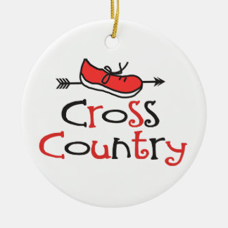 Funny Cross Country Runner Shoe © with CC Arrow Ceramic Ornament