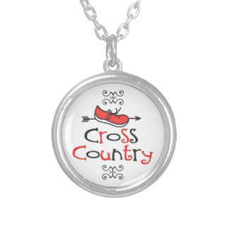 Funny Cross Country Runner Shoe with CC Arrow Round Pendant Necklace