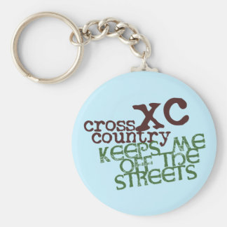 Funny Cross Country Running © Keeps me off Streets Basic Round Button Keychain