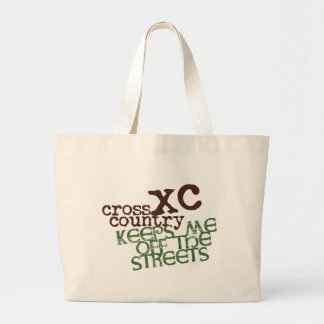 Funny Cross Country Running © Keeps me off Streets Large Tote Bag
