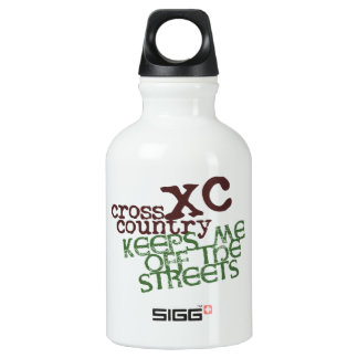 Funny Cross Country Running © Keeps me off Streets Water Bottle