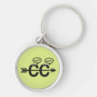 Funny Cross Country Running - Ouch! Silver-Colored Round Keychain