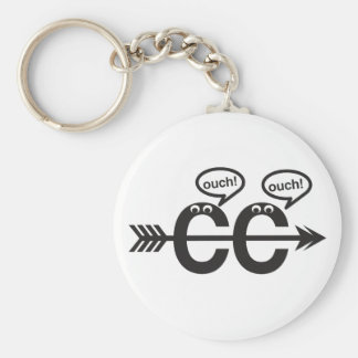 Funny Cross Country Running Runner Keychain- Ouch! Basic Round Button Keychain