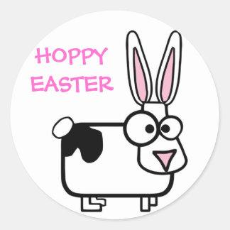 Funny Cross Eyed Cartoon Bunny Rabbit Hoppy Classic Round Sticker