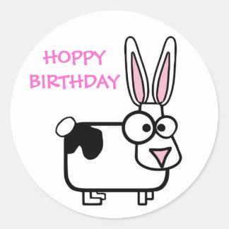 Funny Cross Eyed Cartoon Rabbit Happy Birthday Classic Round Sticker