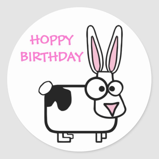 Funny Cross Eyed Cartoon Rabbit Happy Birthday Classic