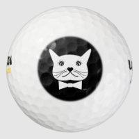 Funny cross-eyed Male Cat, Cool Golf Balls