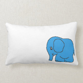 Funny cross-stitch blue elephant lumbar pillow