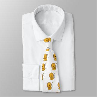 Funny cross-stitch cartoon Lion Neck Tie