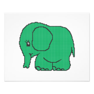 Funny cross-stitch green elephant flyer