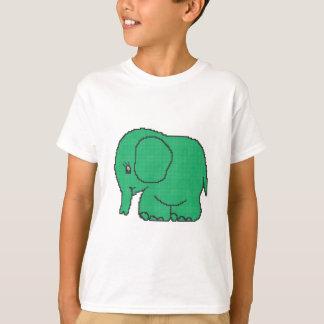 Funny cross-stitch green elephant T-Shirt