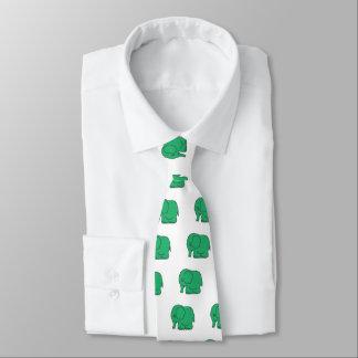 Funny cross-stitch green elephant tie