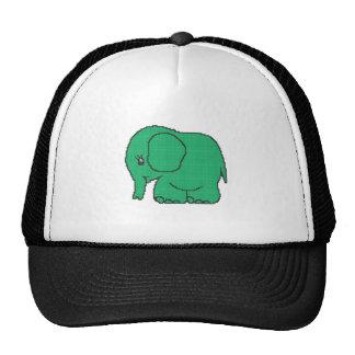 Funny cross-stitch green elephant trucker hat