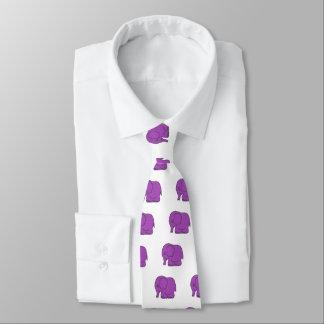 Funny cross-stitch purple elephant tie