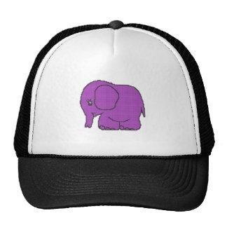 Funny cross-stitch purple elephant trucker hat