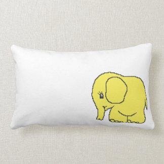 Funny cross-stitch yellow elephant lumbar pillow