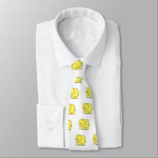 Funny cross-stitch yellow elephant neck tie