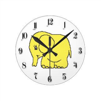 Funny cross-stitch yellow elephant round clock