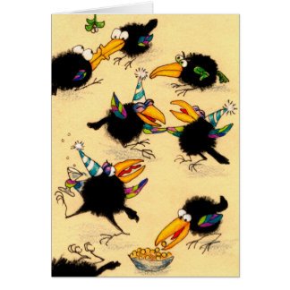 Funny Crow Christmas party greeting card