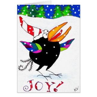 Funny Crow Christmas Snow Joy greeting card