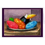 Funny crow Easter egg still life Card