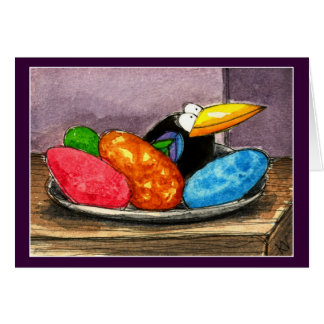 Funny crow Easter egg still life Greeting Cards