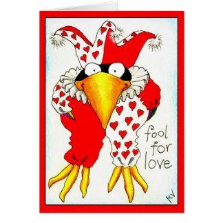 Funny Crow Jester Valentine's Day greeting card