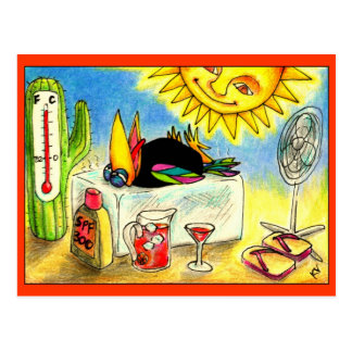 Funny Crow Summer Vacation postcard