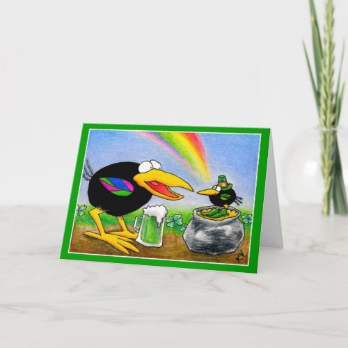 Funny Crow with Leprechaun St Paddys Day Card