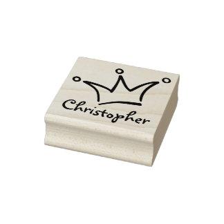 Funny Crown black + your backgr. & Name Rubber Stamp
