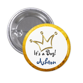 Funny Crown gold + your backgr. & text 1 Inch Round Button
