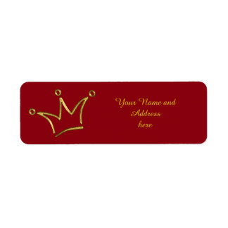 Funny Crown gold + your backgr. & text Label