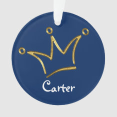 Funny Crown Gold + Your Backgr. & Text Ornament at Zazzle