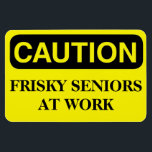 """Funny Cruise Cabin Door Magnet - Frisky Seniors<br><div class=""""desc"""">Bring some laughs along on your vacation with this funny magnet to display on your cruise ship cabin or stateroom door!</div>"""