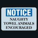 """Funny Cruise Cabin Door Magnet - Naughty Towels<br><div class=""""desc"""">Bring some laughs along on your vacation with this funny magnet to display on your cruise ship cabin or stateroom door!</div>"""