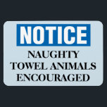 "Funny Cruise Cabin Door Magnet - Naughty Towels<br><div class=""desc"">Bring some laughs along on your vacation with this funny magnet to display on your cruise ship cabin or stateroom door!</div>"