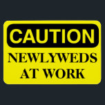 """Funny Cruise Cabin Door Magnet - Newlyweds at Work<br><div class=""""desc"""">Bring some laughs along on your vacation with this funny magnet to display on your cruise ship cabin or stateroom door!</div>"""