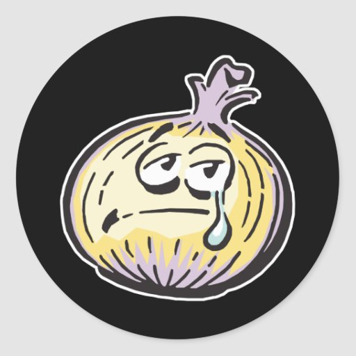 funny crying onion classic round sticker