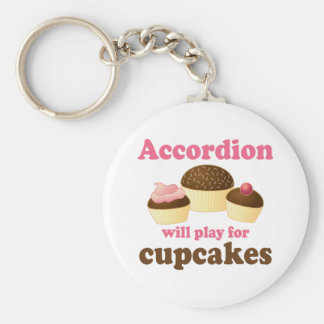 Funny Cupcake Accordion Music Quote Gift Basic Round Button Keychain