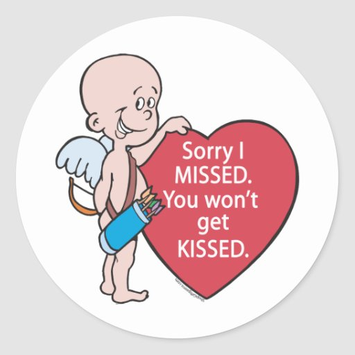 Funny Cupid Missed Anti-Vday Stickers